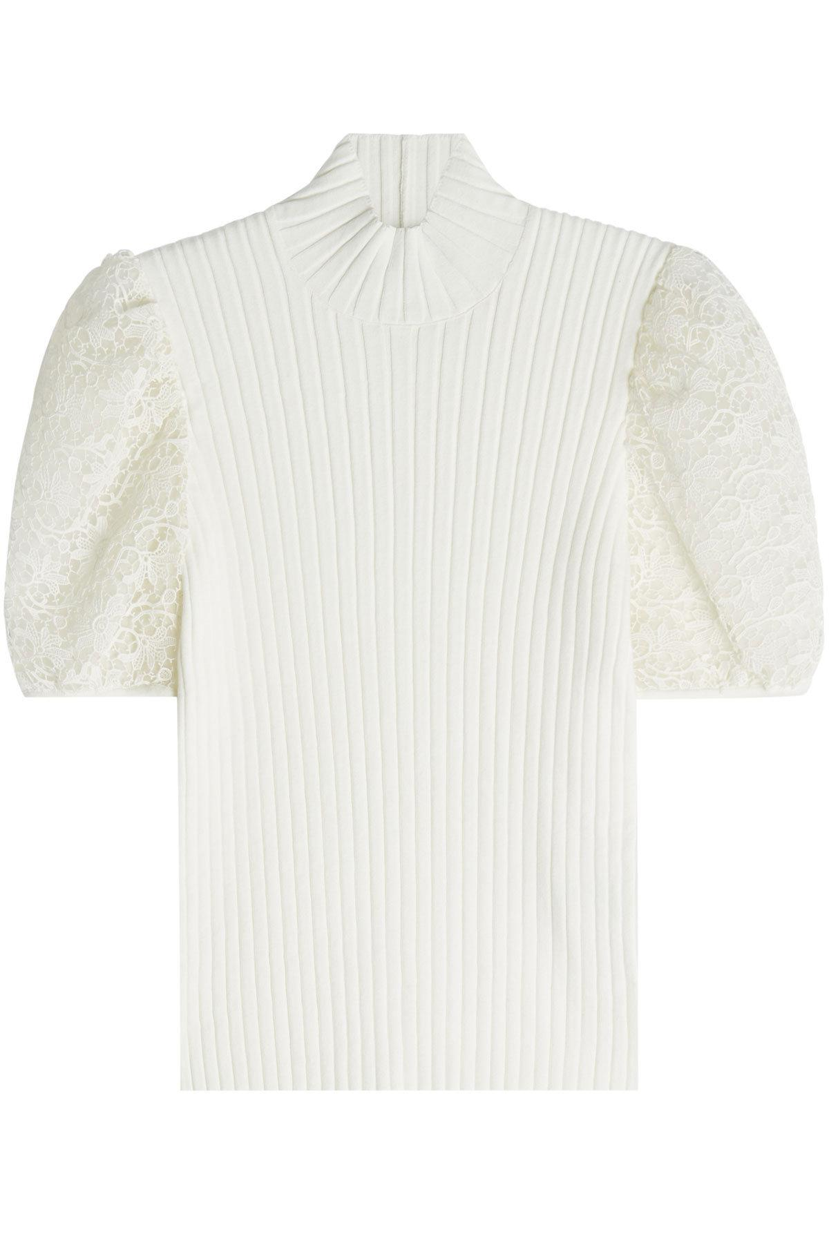 Giambattista Valli Top With Lace Sleeves In White