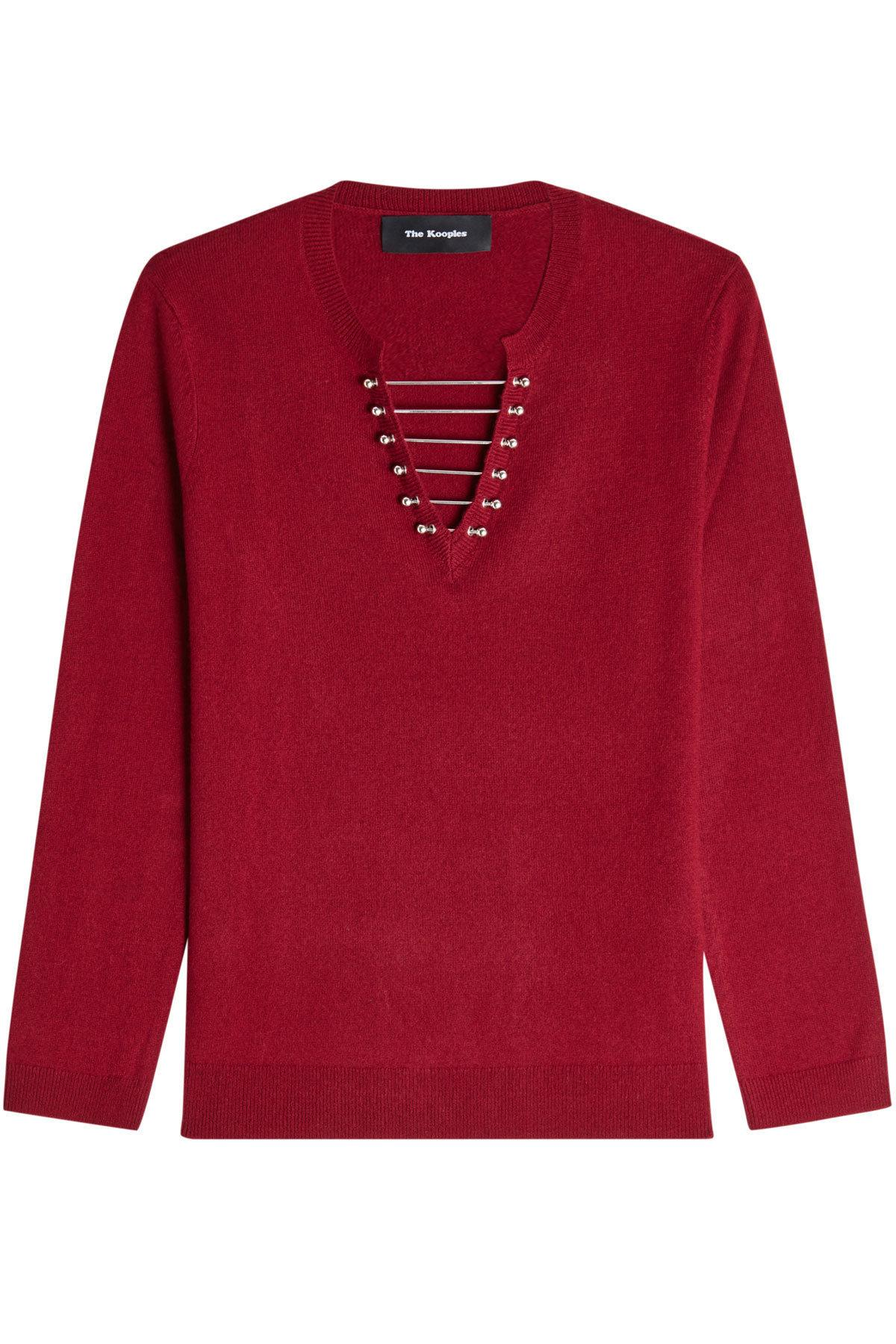 The Kooples Embellished Wool Pullover With Cashmere In Red