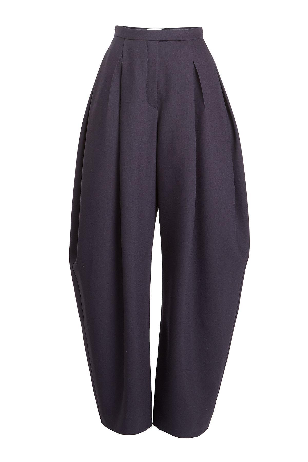 Delpozo Wide-Leg Wool Pants With Silk In Blue
