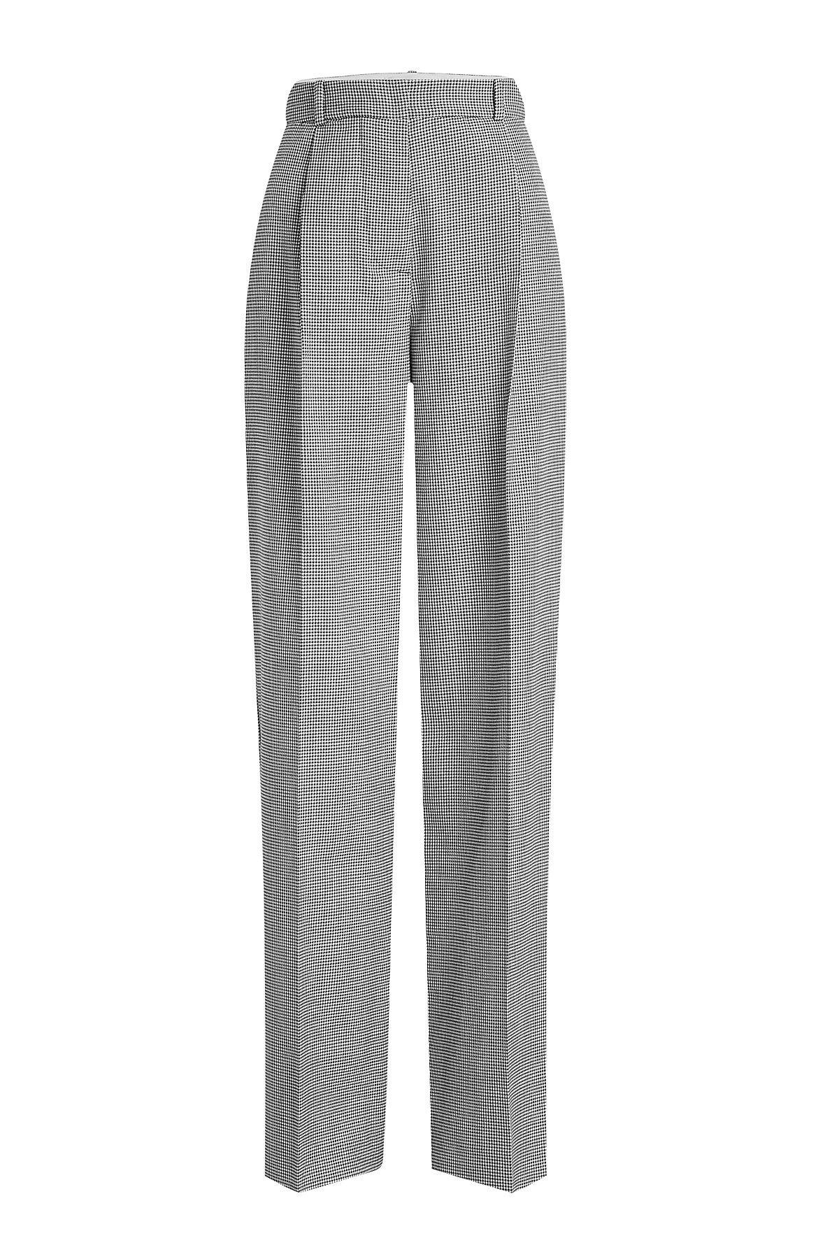 Victoria Beckham Printed Wool Wide-Leg Pants In Multicolored