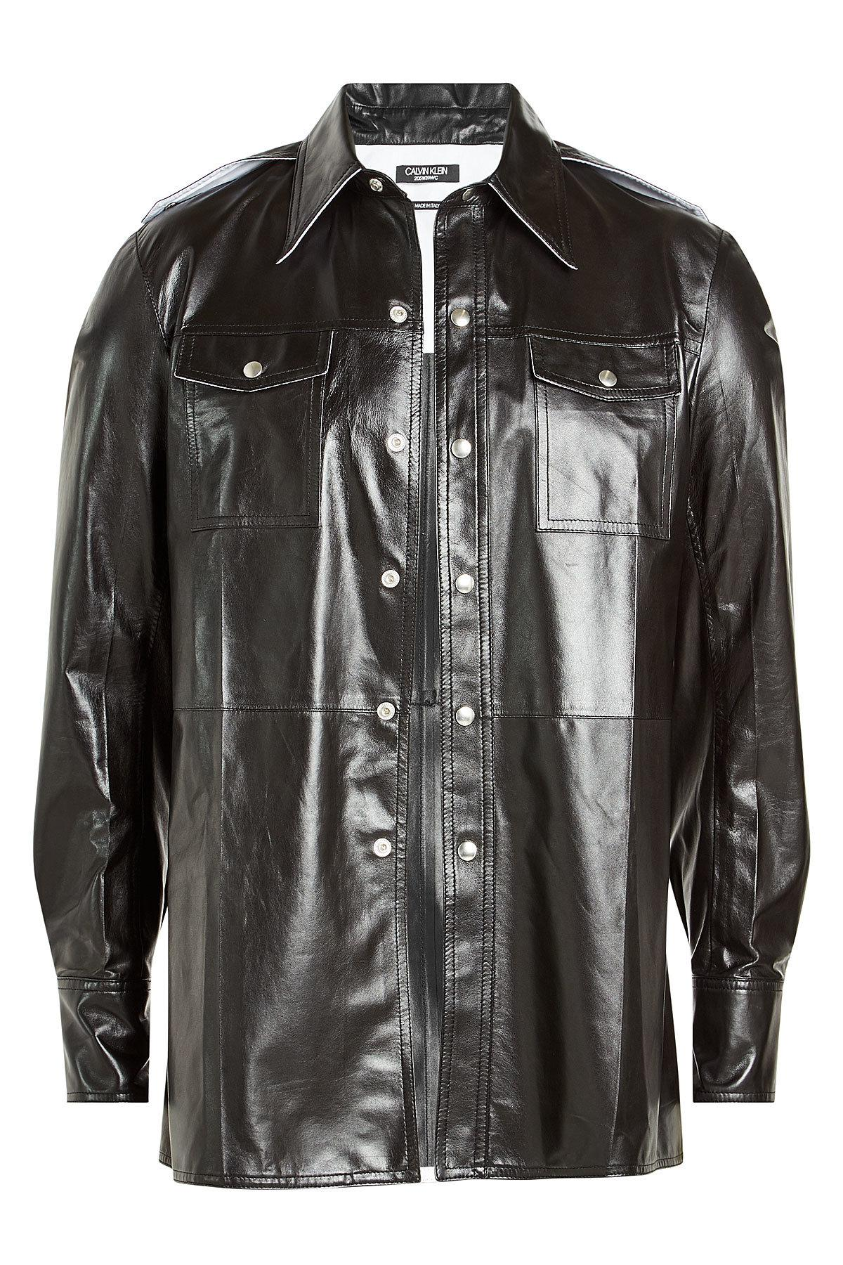 Calvin Klein 205W39Nyc Leather Shirt In Black