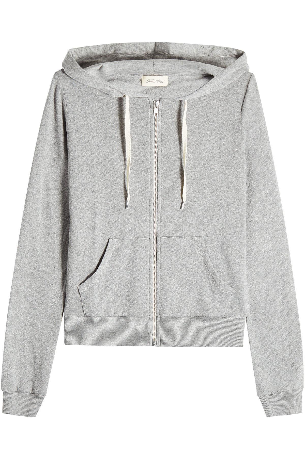 American Vintage Zipped Cotton Hoody In Grey