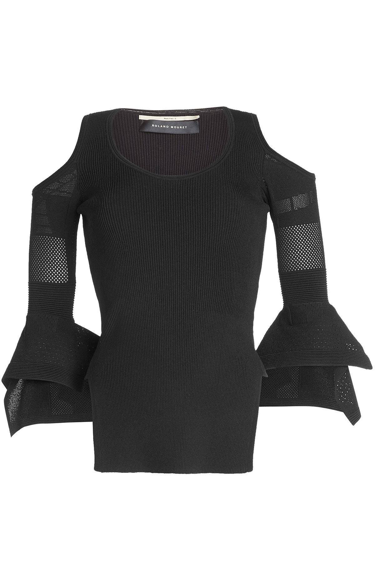 Roland Mouret Cold Shoulder Top With Mesh In Black