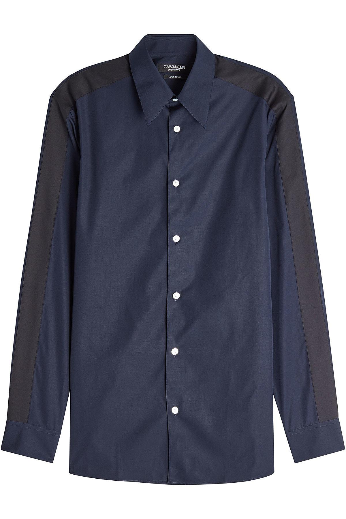 Calvin Klein 205W39Nyc Two-Tone Cotton Shirt In Blue