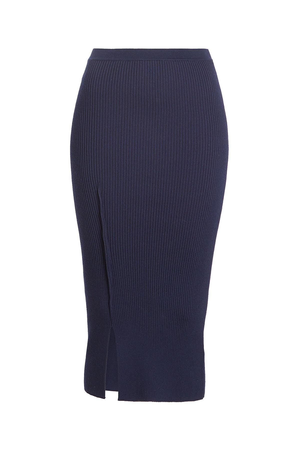 Victoria Beckham Ribbed Knit Pencil Skirt With Wool In Blue