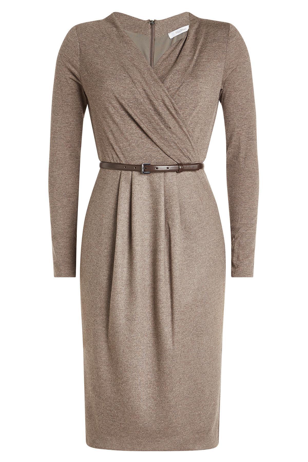 Max Mara Virgin Wool Dress With Leather Belt In Beige