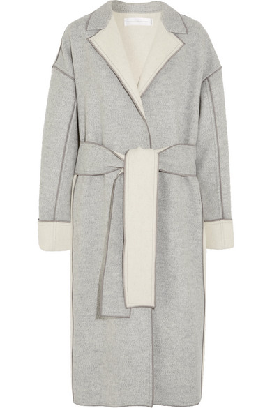 Victoria Victoria Beckham Two-Tone Wool And Cashmere-Blend Coat In Light Gray