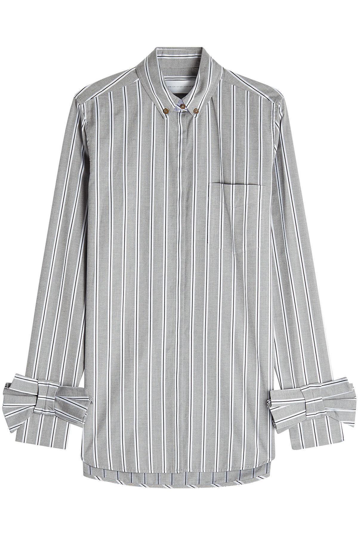 Victoria Victoria Beckham Cotton Shirt With Bow Cuffs In Stripes
