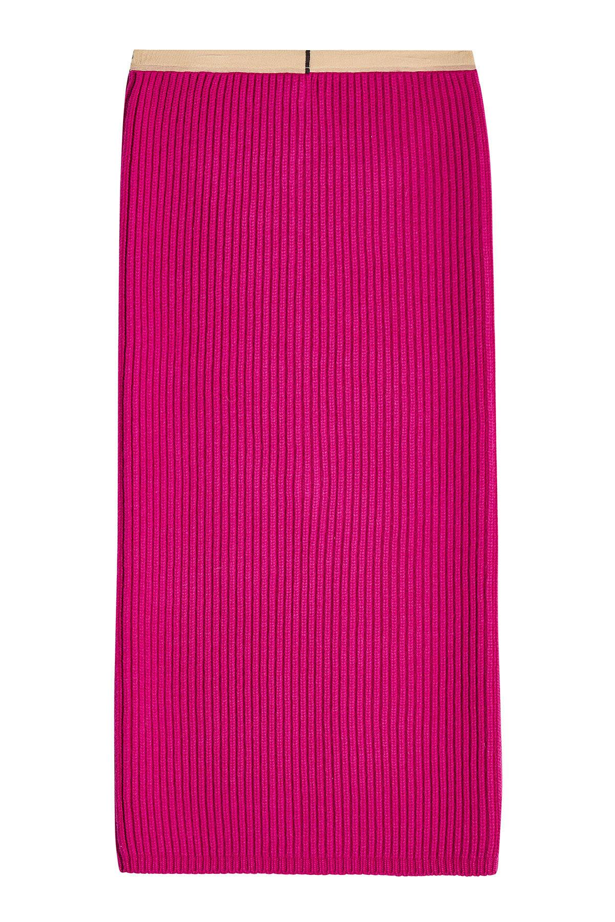Calvin Klein 205W39Nyc Ribbed Skirt With Wool And Cashmere In Magenta