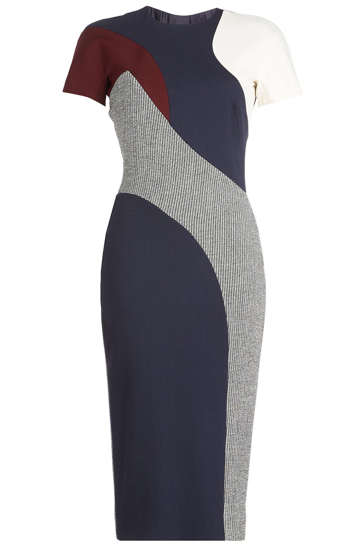 Victoria Beckham Printed Dress With Wool In Multicolored