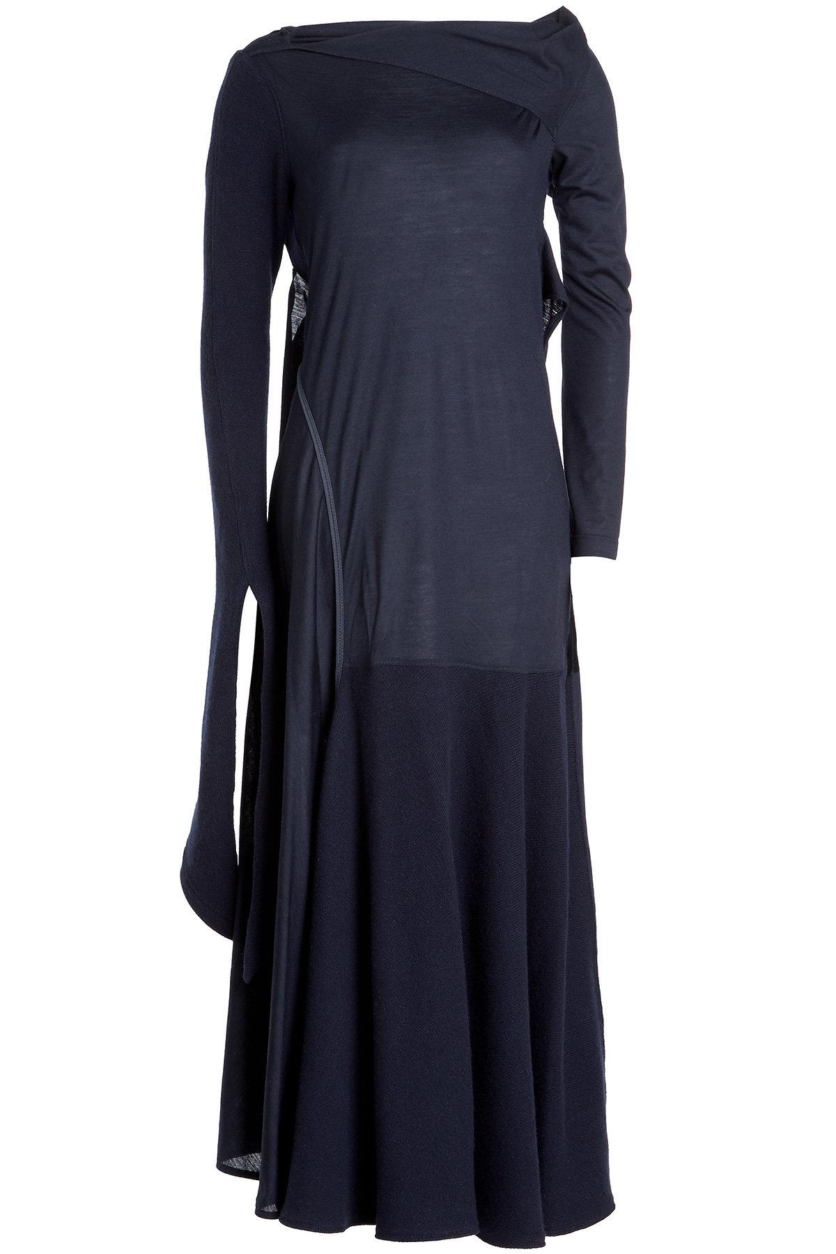 Victoria Beckham Asymmetric Virgin Wool Dress With Cashmere In Blue