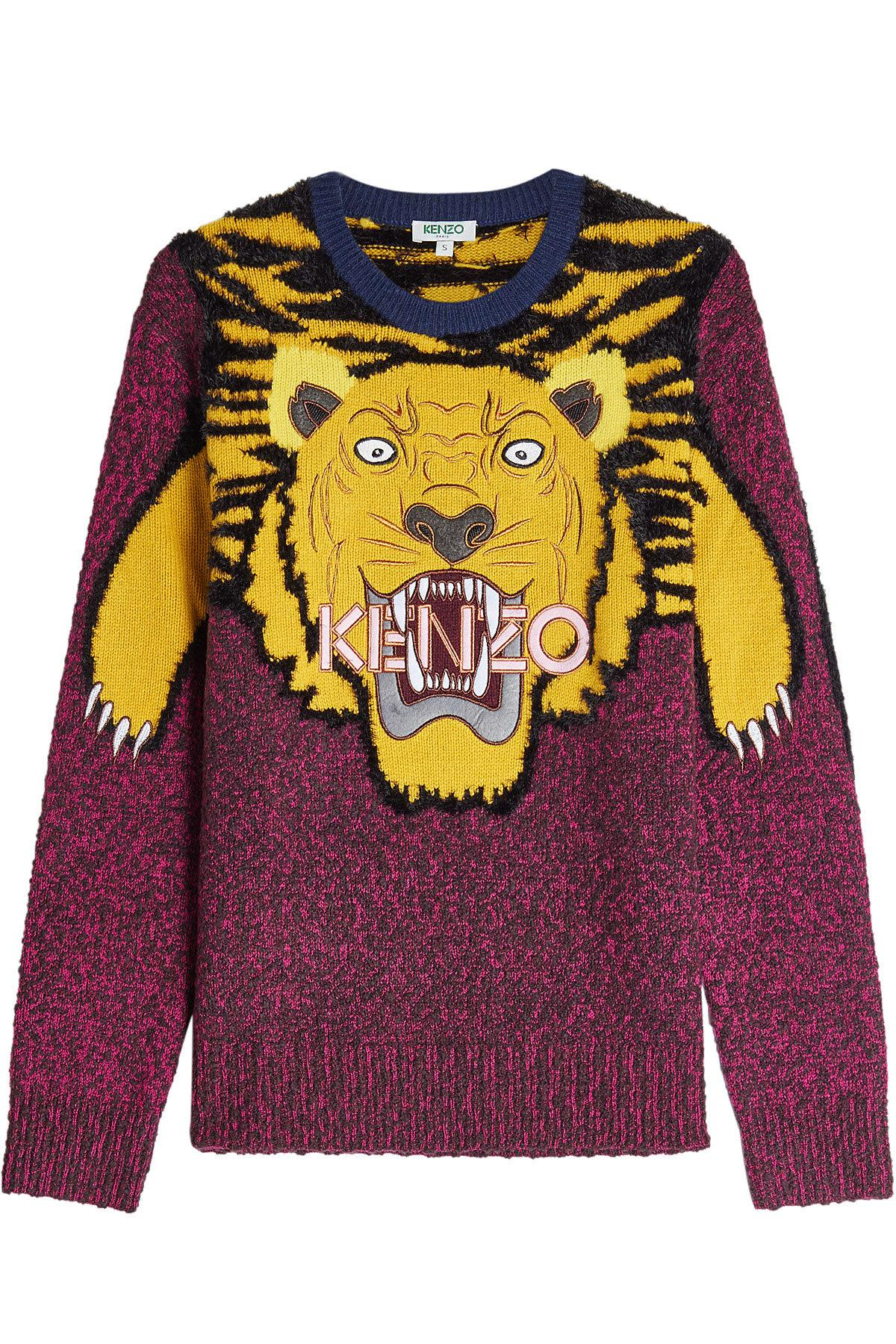 Kenzo Embroidered Wool Pullover In Multicolored