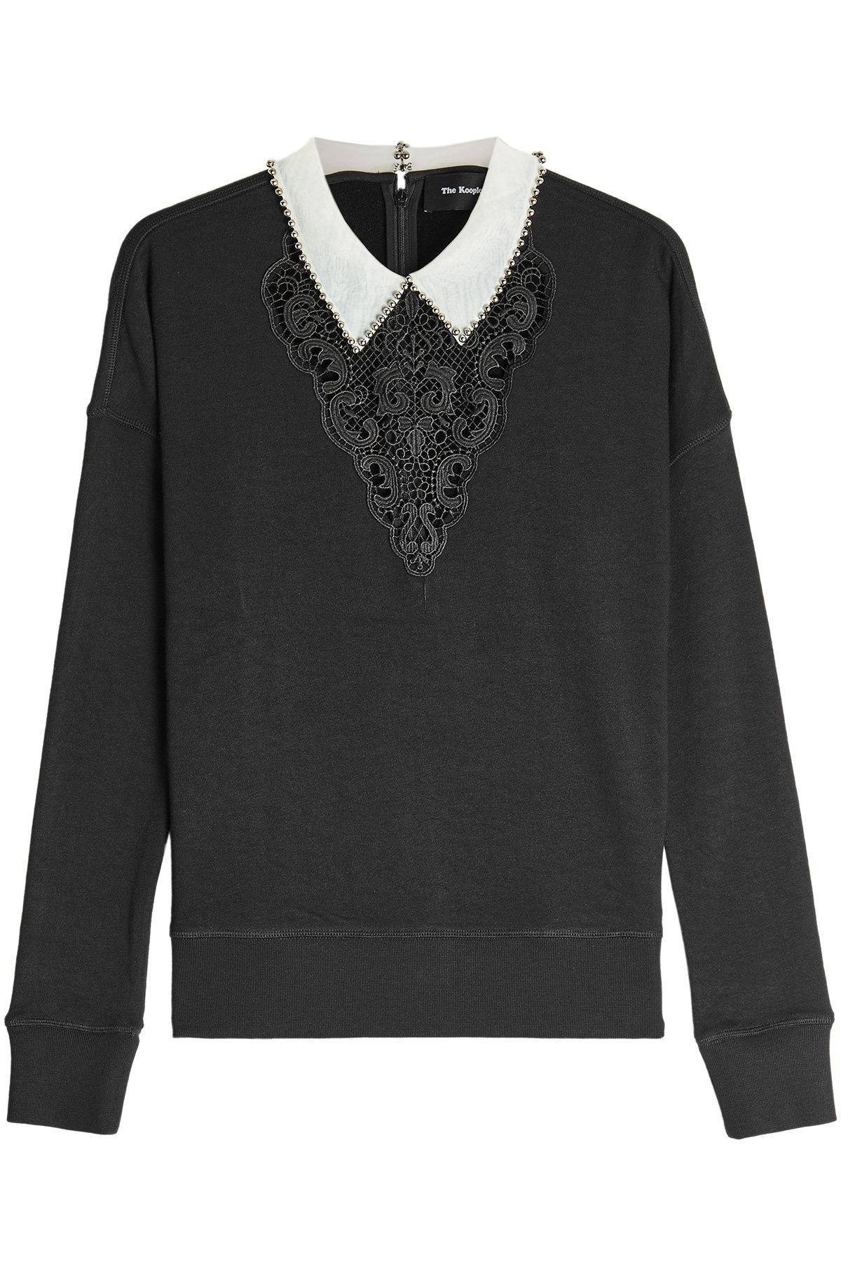 The Kooples Sweatshirt With Lace And Embellishments In Black