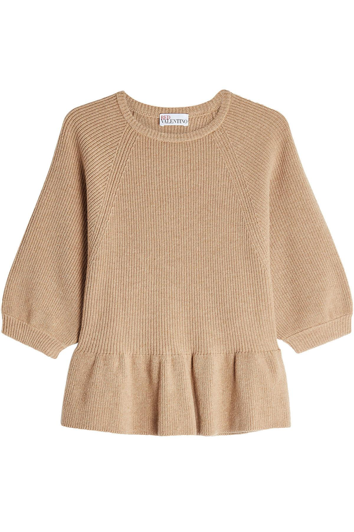 Red Valentino Wool Pullover With Flared Hem In Beige