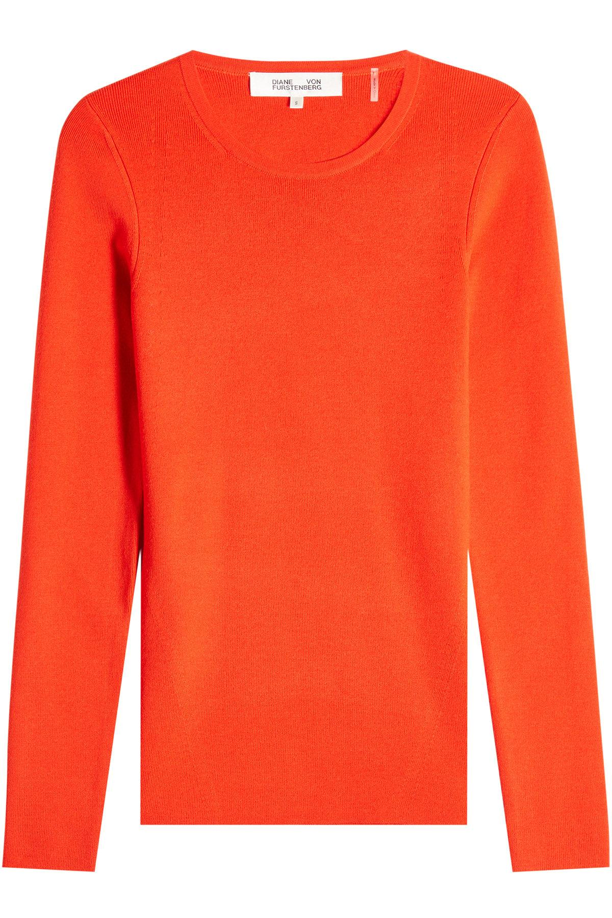 Diane Von Furstenberg Merino Wool Top In Red
