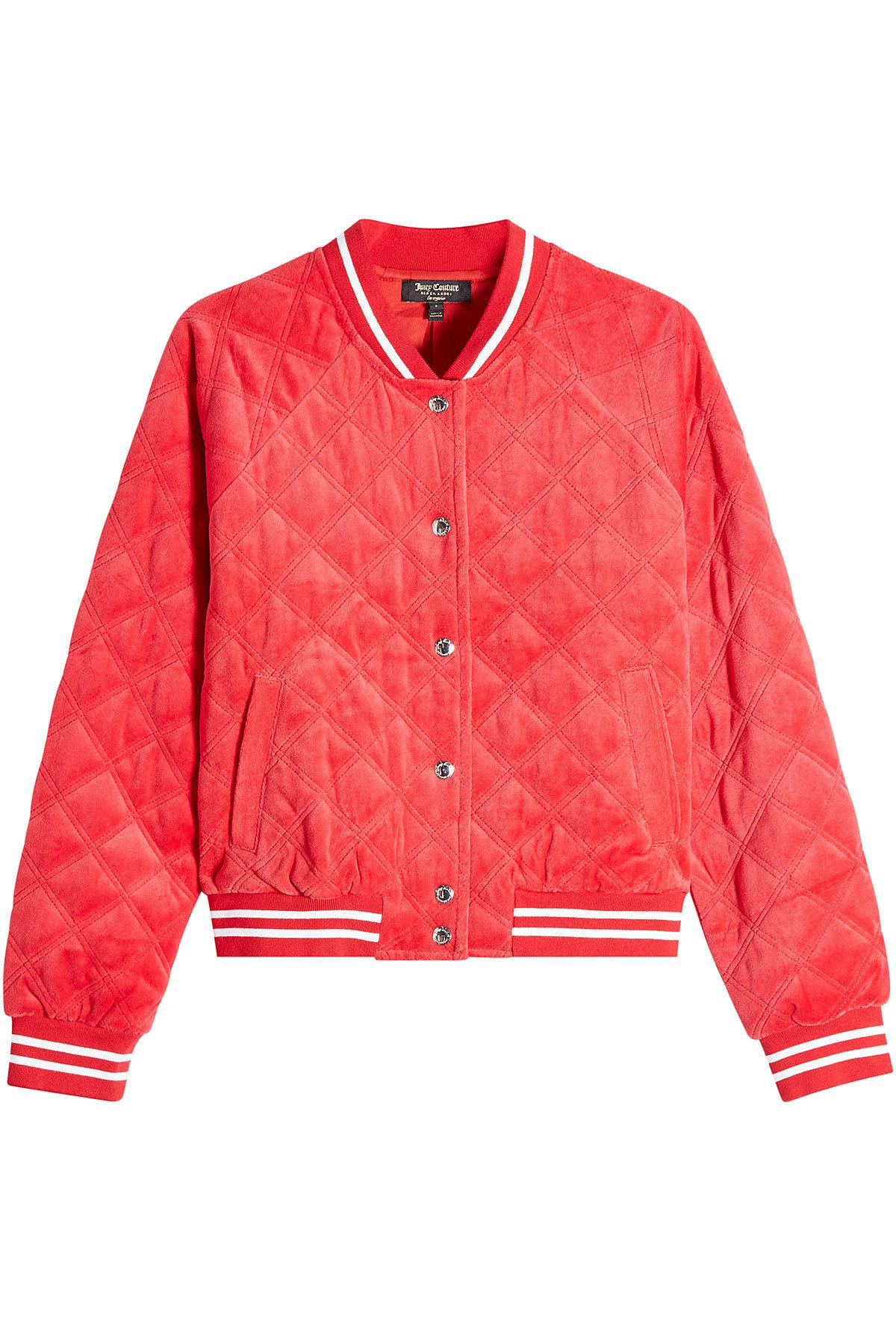 Juicy Couture Quilted Velour Bomber Jacket In Red