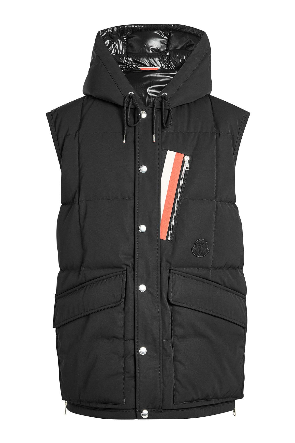 Moncler Ancas Quilted Down Vest With Hood In Black