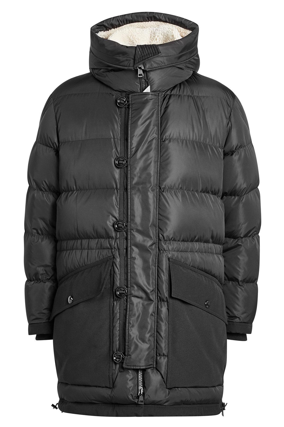 Moncler Loic Quilted Shearling Parka With Hood In Black