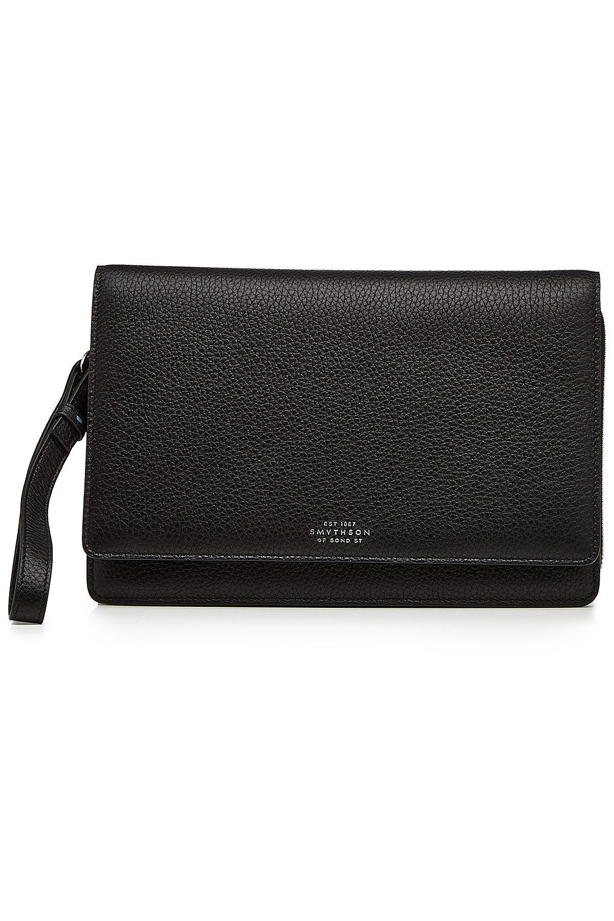 Smythson Leather Pouch In Black