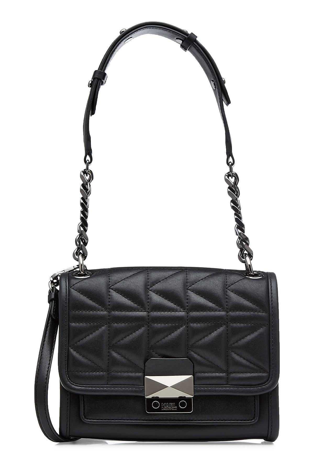 Karl Lagerfeld K/Kuilted Mini Leather Handbag In Black