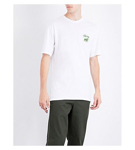 Stussy Stock Lion Cotton-Jersey T-Shirt In White