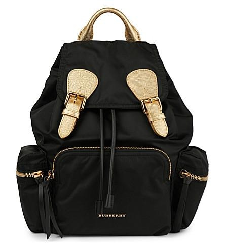 Burberry Two Tone Nylon And Leather Backpack In Black Gold