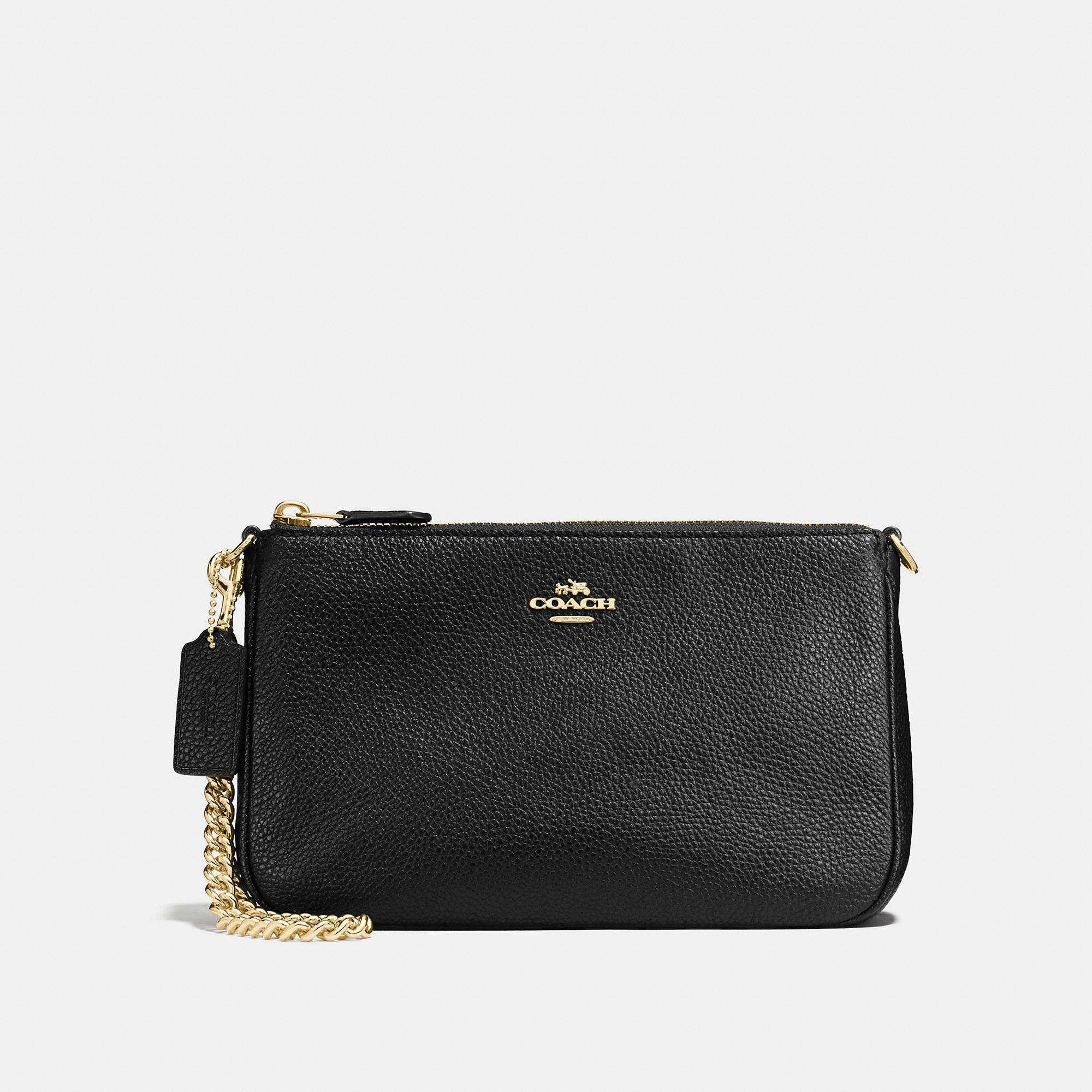 Coach Nolita Wristlet 22 In Black/Light Gold