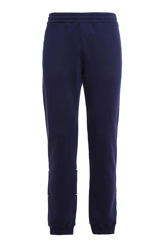 Msgm Trousers With Logo In Blue