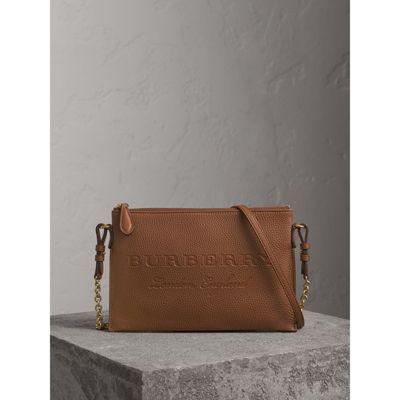 Burberry Embossed Leather Clutch Bag In Chestnut Brown