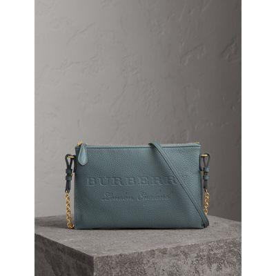 Burberry Embossed Leather Clutch Bag In Dusty Teal Blue