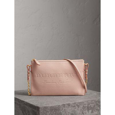 Burberry Embossed Leather Clutch Bag In Pale Ash Rose