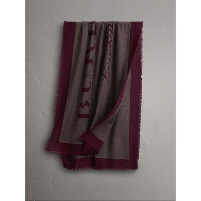 Burberry Graphic Print Motif  Lightweight Cashmere Scarf In Ash Rose