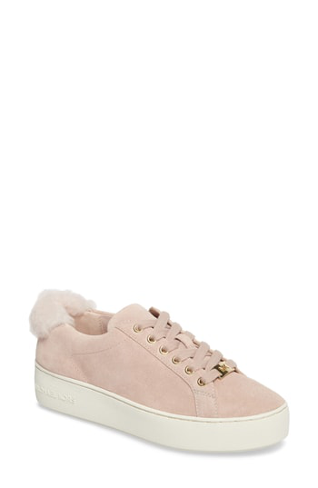 Michael Michael Kors Poppy Suede And Shearling Lace Up Sneakers In Soft Pink Suede