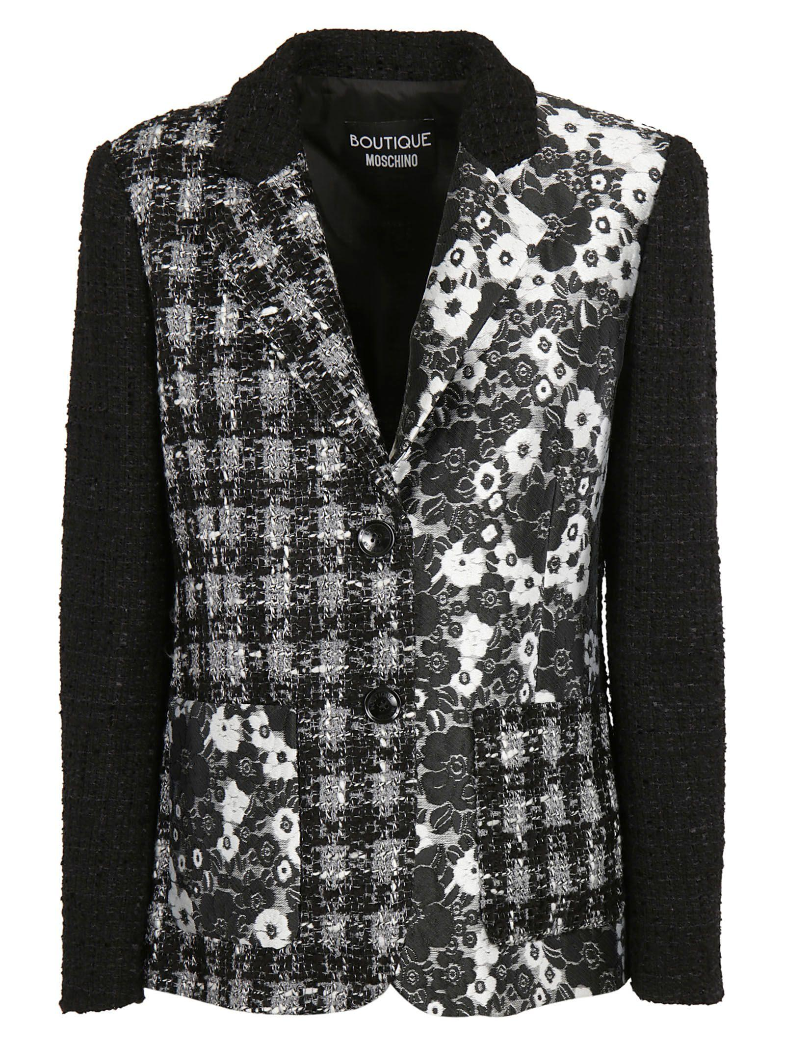 Boutique Moschino Tweed BouclÉ And Brocade Jacket In Black