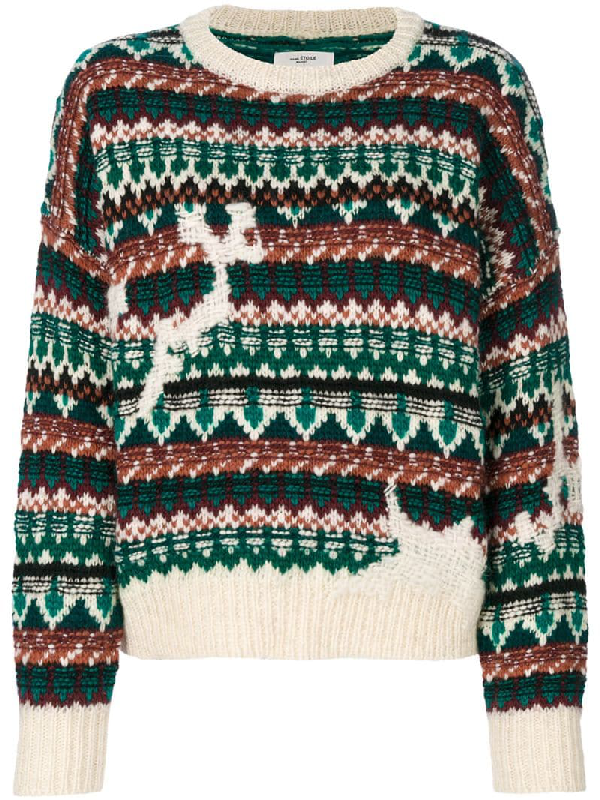 Etoile Isabel Marant Elroy Fair Isle Wool And Alpaca-Blend Sweater In Ecru/Green