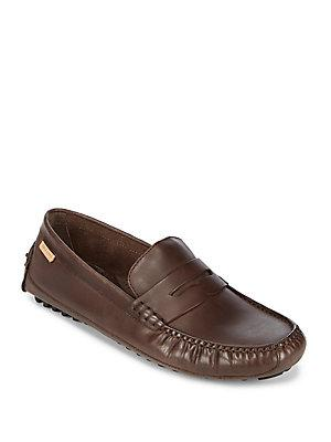 Cole Haan Coburn Penny Leather Loafers In Java Nubuck