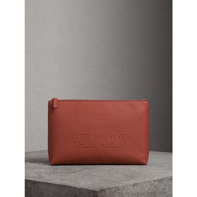 Burberry Large Embossed Leather Zip Pouch In Chestnut Brown