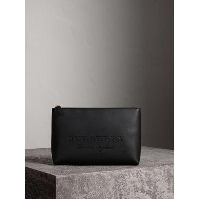 Burberry Large Embossed Leather Zip Pouch In Black