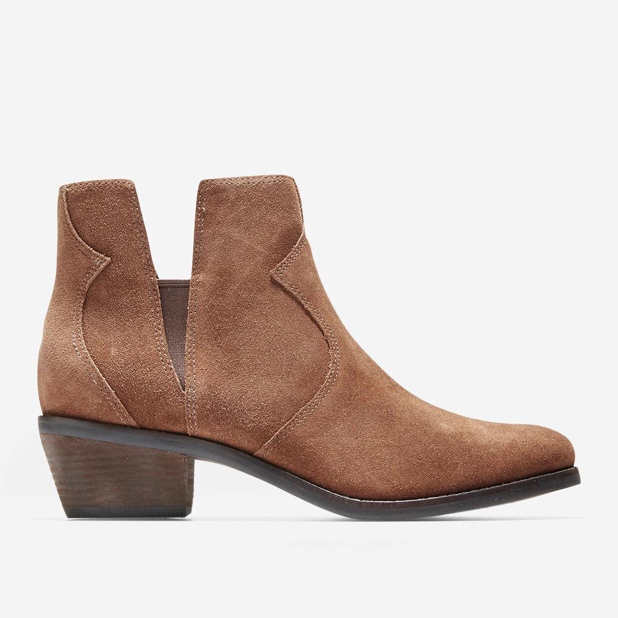 Cole Haan Alayna Block Heel Leather Booties In Brown