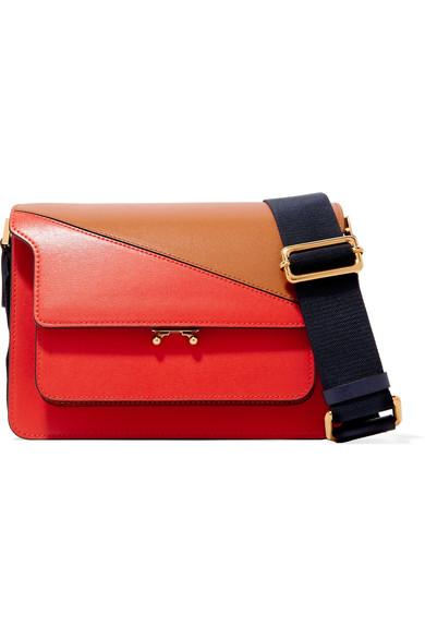 Marni Trunk Two-Tone Leather Shoulder Bag In Red