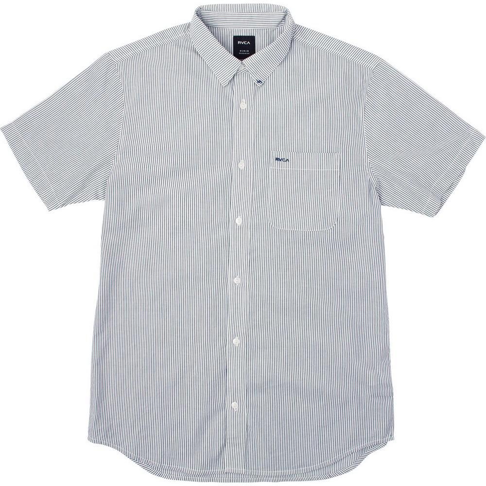 Rvca Men's Milkman Stripe Pocket Shirt In Dark Denim