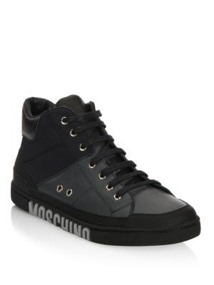 Moschino Mid-Top Lace-Up Sneakers In Black