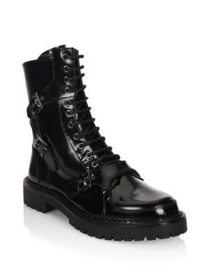 Moschino Lace-Up Leather Boots In Black