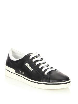 Moschino Contrast Leather Low-Top Sneakers In Black