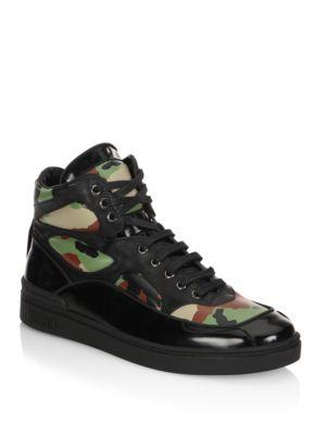 Moschino Camo Leather High Top Sneakers In Black