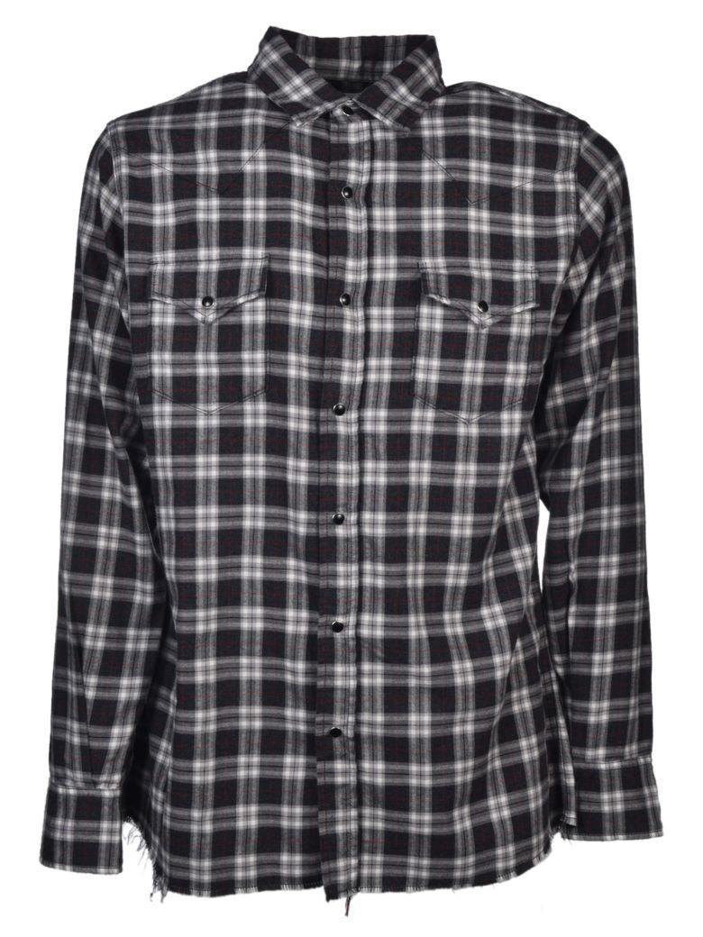Saint Laurent Plaid Shirt In Grey