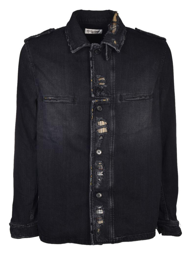 Saint Laurent Distressed Jacket In Black