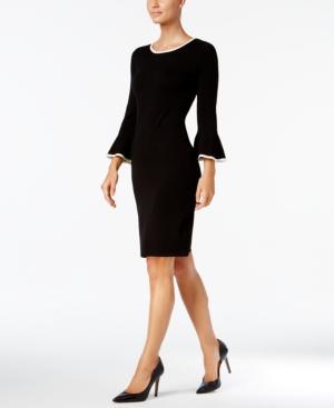 Calvin Klein Two-Tone Bell-Sleeve Sweater Dress In Black/Cream