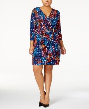 Calvin Klein Plus Size Printed Wrap Dress In Regatta Multi