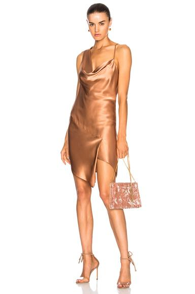 Michelle Mason For Fwrd Bias Cowl Neck Dress In Neutrals,Pink. In Terracotta